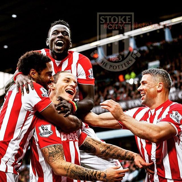 Marko Arnautovic is mobbed after scoring Stoke City's winner in the 1-0 victory at Aston Villa #scfc