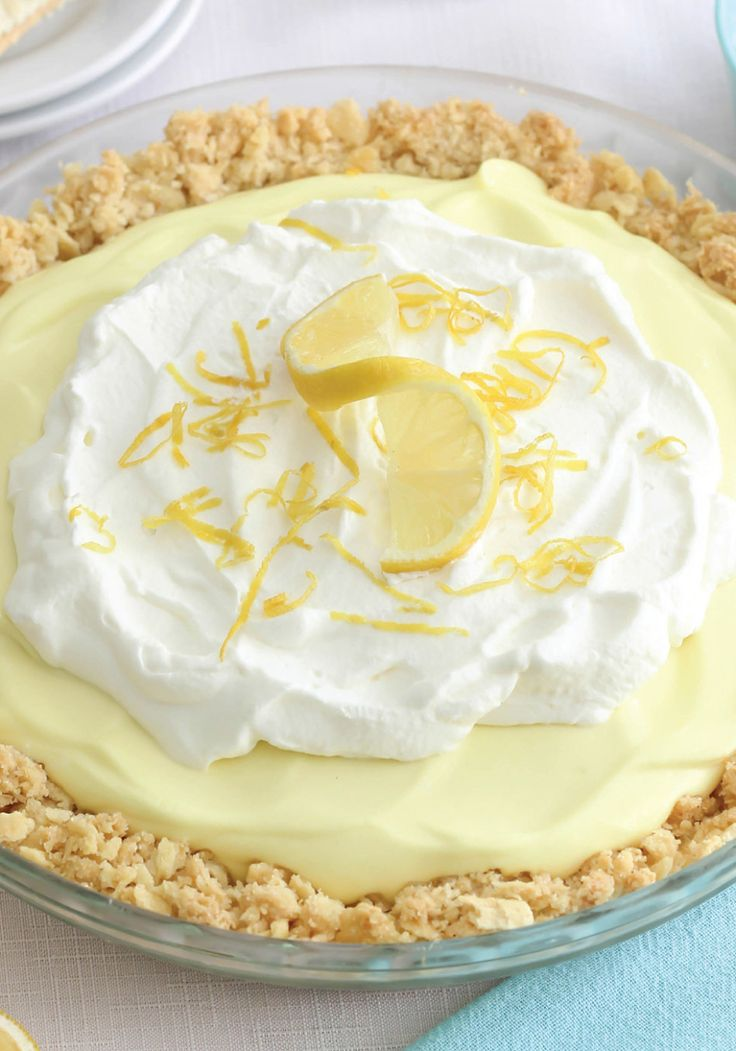 Lemon Pie with Soda-Cracker Crust || If crushed graham crackers can make a delicious pie crust, then why can't saltines? That's the thinking behind this unusual pie from Heather Baird's new book, Sea Salt Sweet. You combine the ho-hum crackers with butter and sugar for an unexpected flavor that's terrific with a lemon filling. Add a sprinkling of fleur de sel before serving, for one more salty hit.