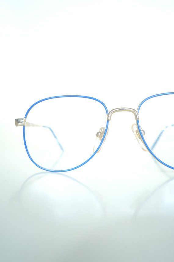 ab4c18896866 Vintage Womens Blue Aviators - Wire Rim Aviator Glasses - Blue ...