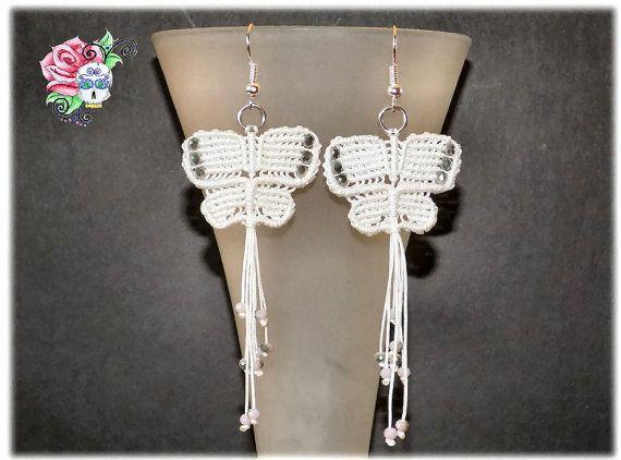 Papillons Boucles d'oreille Macramé perles  par ValniDesignsJewelry