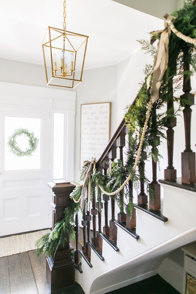 76 best christmas decor images on pinterest christmas - Christmas decorations for stair rail ...