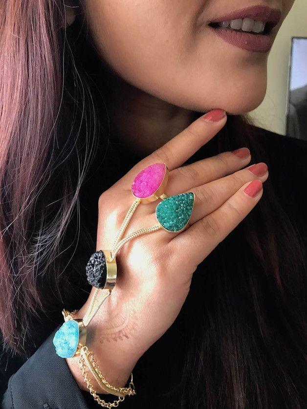 Dangle Earrings – Multi Color Agate Druzy Hand Harness Handflower – a unique product by EnharaJewels on DaWanda