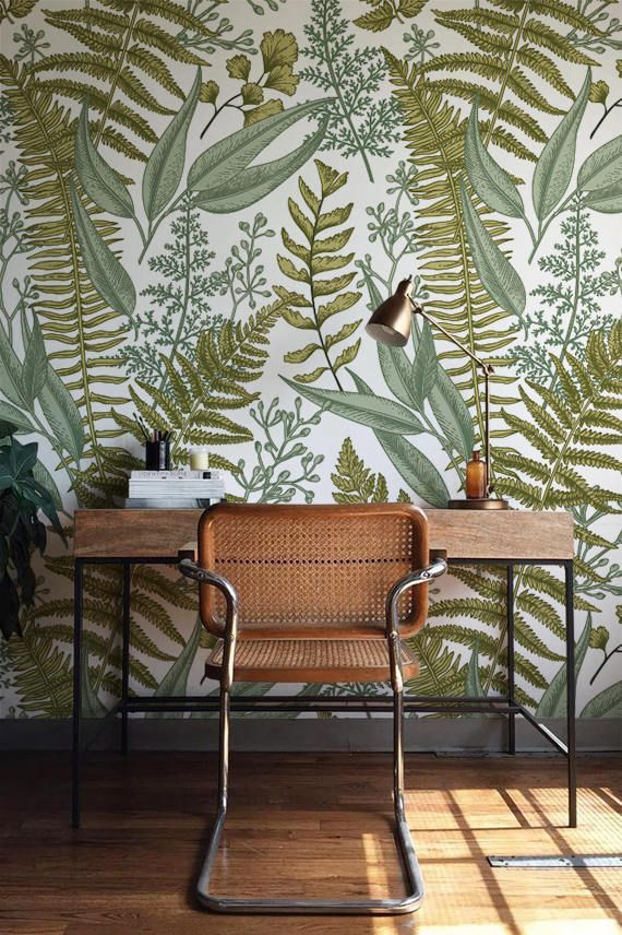 Botanical Wallpaper Ferns Wallpaper Wall Mural Green Home