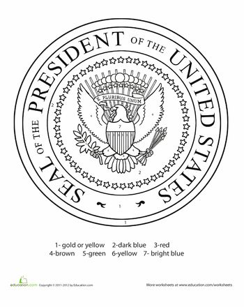 Worksheets: Presidential Seal Colouring Page. To place on the front of our Presidential briefcases :)