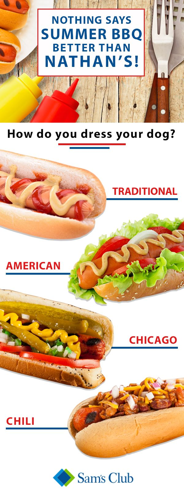 How you dress your dog says a lot about you, and this holiday is the best time to express yourself. Make a lasting impression by bringing Nathan's to the BBQ this year and show everyone how it' s done. Make sure you swing by Sam's Club for not only the best hot dogs in the game, but for everything else you'll need to have the best holiday ever.