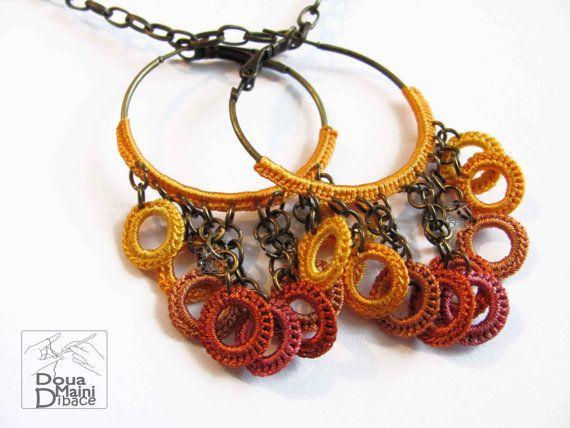 A mano all'uncinetto hoop seta orecchini, giallo, arancio, gioielli di fibra tessile soleggiato, colorate rosa, Boemia, chic romantico, estroso  10.72 €