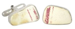 Red Plate porcelain and sterling silver cufflinks