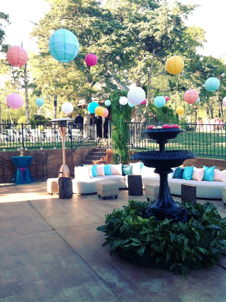 Colorful Backyard Event Color Lanterns Outside