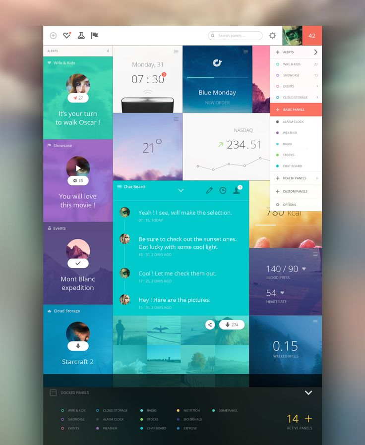 Personal data dashboard by Cosmin Capitanu #ui #ux #uxui #gui #flat #design #web #app #application #color #grid #music #inspiration