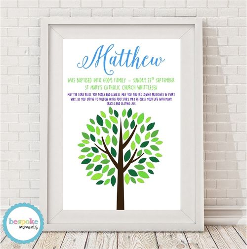 Boys Tree Christening Print by Bespoke Moments. Worldwide Shipping Available.