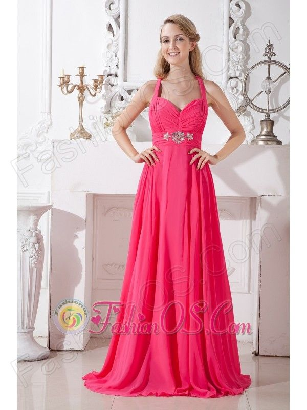 long pink sweetheart top chiffon dress