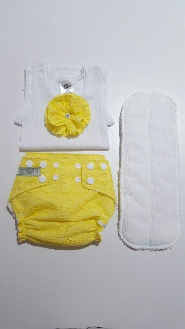 Something different. Sunny yellow nappy with insert and singlet.