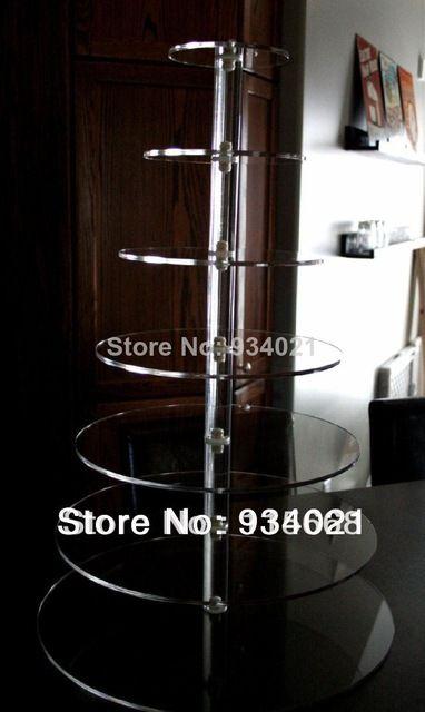 Торговый продажи 7 уровня майское дерево акриловые пирожне стенд торт чашки башня дерево свадебные украшения