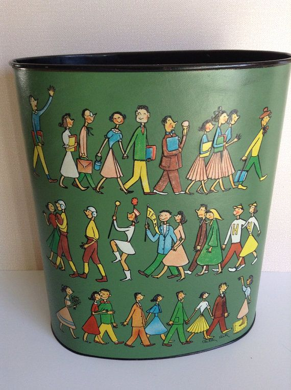 Vintage 1960 S Metal With Vinyl Sports Themed Trash Can