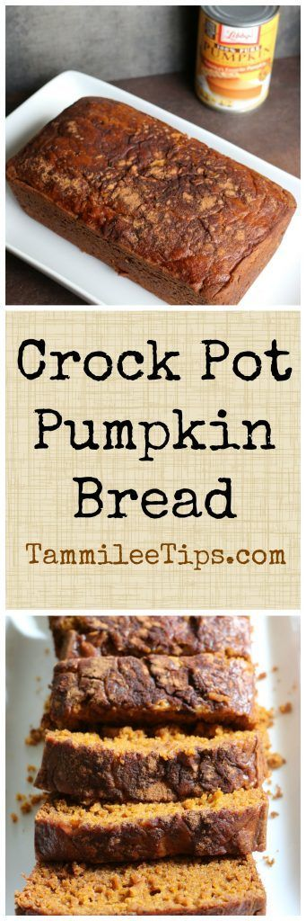 Super easy to make Crock Pot Pumpkin Bread Recipe! Using canned pumpkin this bread smells so good as it is baking! Perfect for harvest parties, fall parties and Halloween parties. Package this bread up as a cute DIY gift.