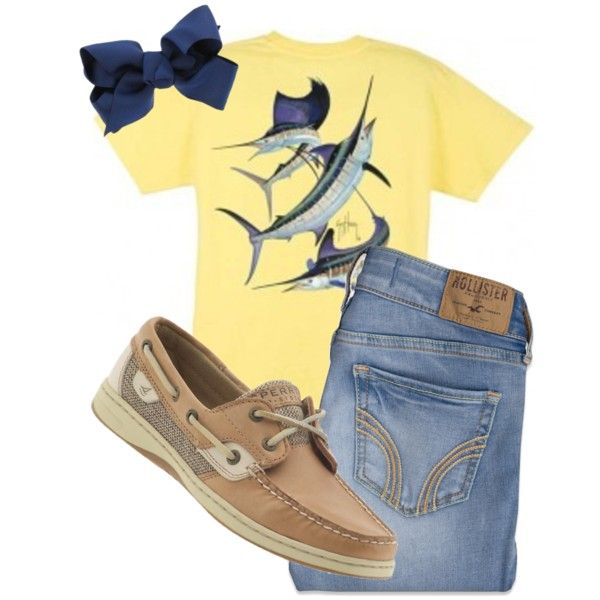 """Guy Harvey"" by rebeccaleigh97 on Polyvore Without the hair bow!"