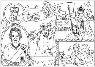God Save The Queen Colouring Page Diamond Jubilee