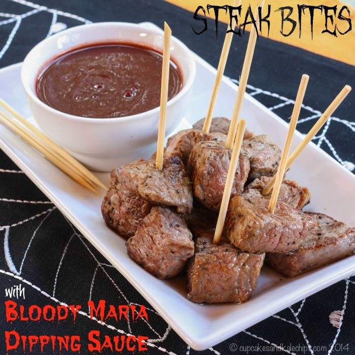 Steak Bites with Bloody Maria Dipping Sauce are a tasty appetizer of perfectly seasoned beef drowned in a puddle of oozy red deliciousness.