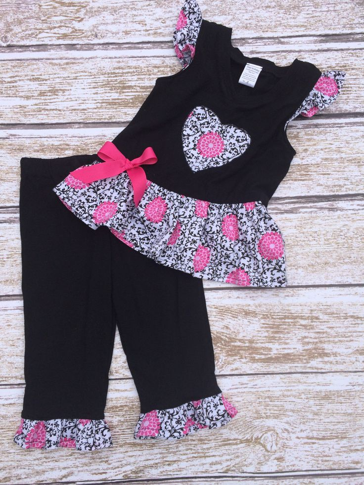 Girls Outfit - Girls Capri Outfit - Girls Spring Capri Outfit -  Girls Holiday Outfit - Summer Capri Outfit - Toddler Capri Outfit - Capris by SimplyTotsBoutique on Etsy