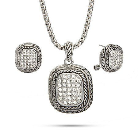 Reversible Bali Style Pave Necklace and Earring Set Eve's Addiction. $36.00. Charm Size: 1.5 inches tall. Approximate Weight: 27.7 grams. TCW: .93 carats