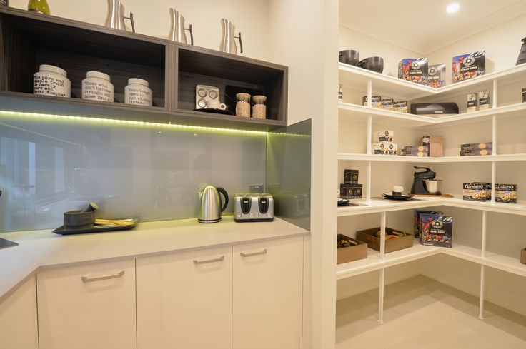 An entertainer's dream! An ideal space for preparation, storage and hiding the dirty dishes when the guests arrive. Featured in the Essington Two at Marsden Park. #butlerspantryideas #mcdonaldjoneshomes