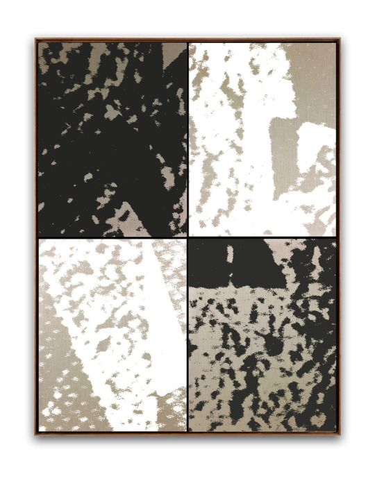 Roman Liska. Dazzle Painting (black/white 2x2 grid) 180 x 240 cm / approx. 71 x 94 foamed rubber on linen, aluminium stretcher. 2015. pictured with shadow gap frame in American Walnut finish. (digital rendering)