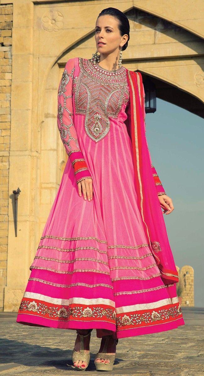 Pink color Long Length Anarkali-Net #Salwar_Kameez