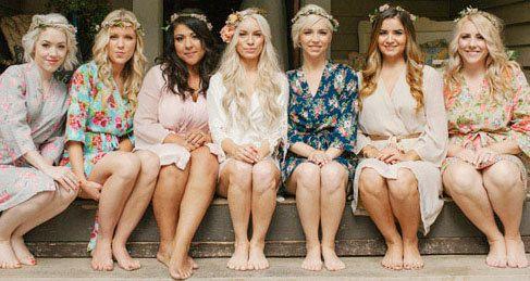 Conjunto de 5 túnicas Bridesmaids alineados personalizado. Grande como SingingSlowly Por