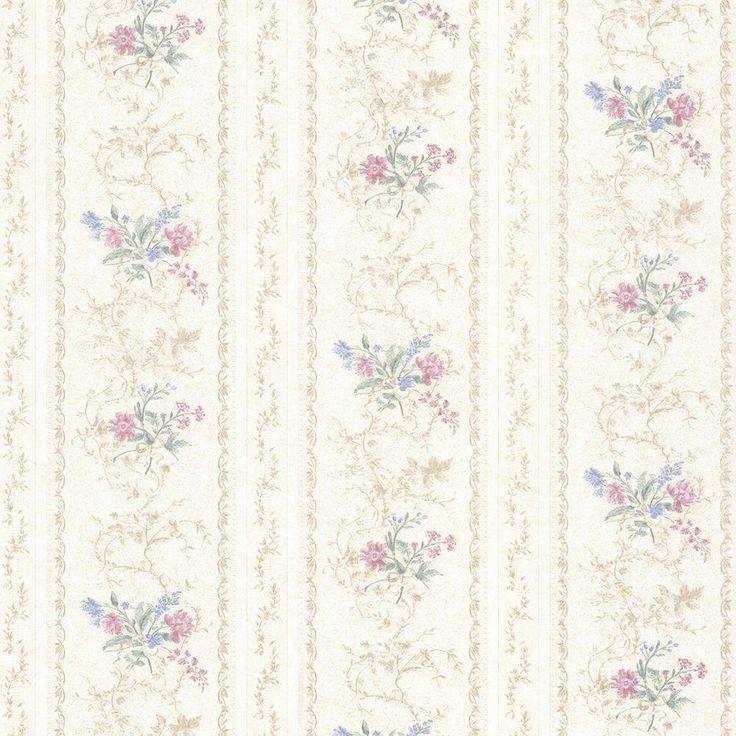 Mirage Maury Pink Floral Bouquet Stripe Wallpaper 992