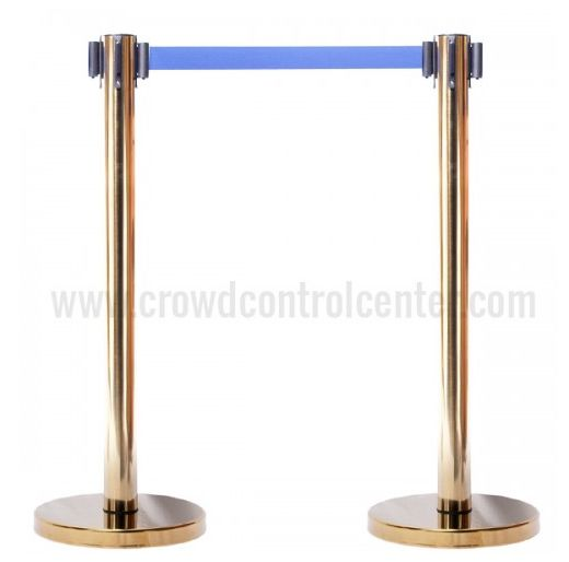 Buy Economy Version in Gold Plated Stainless Steel Retractable Belt Stanchion from CrowdControlCenter, A top Crowd Control Stanchions and Retractable Safety Barrier Store US.
