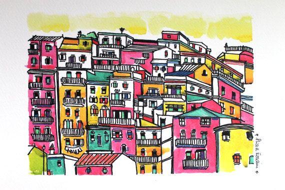 Lisbon print Lisbon poster lisbon watercolor by aliaaessamart