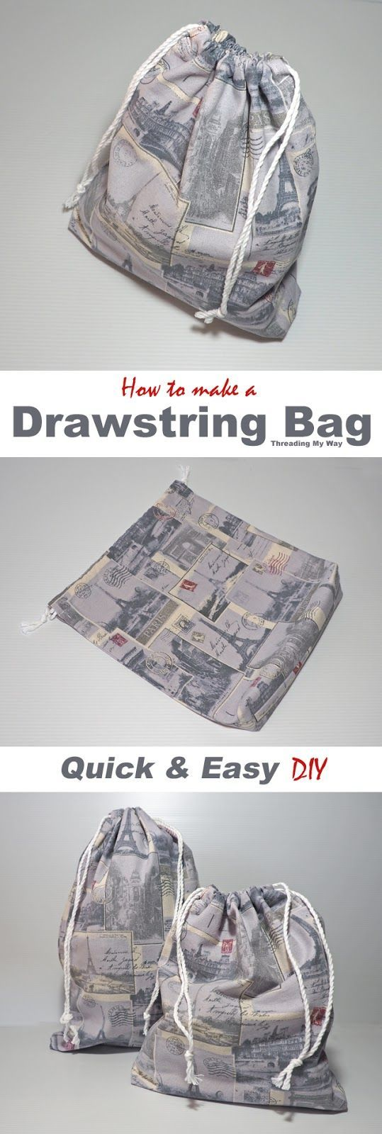 Make a simple, unlined drawstring bag. Tutorial by Threading My Way