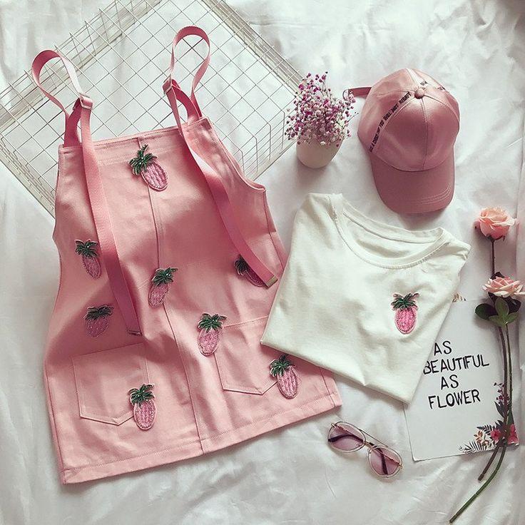 "Kawaii pink/yellow t-shirt+braces skirt two-piece SE10222      Coupon code ""cutekawaii"" for 10% off"