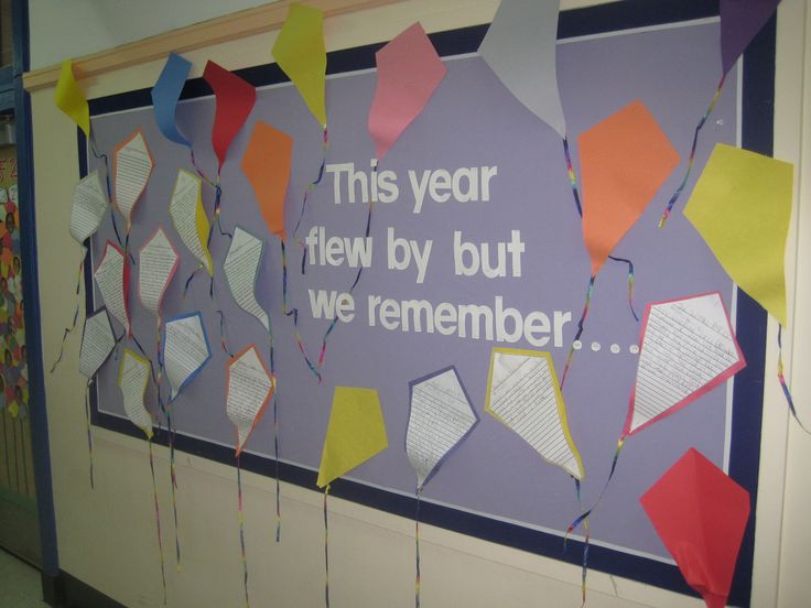 """This Year Flew By…But We Remember!"" Cut kite shapes from construction paper or fun patterned scrapbook paper in assorted colors, adding ribbon for the tails. Invite your students to script their memories of the school year onto a piece of white paper cut into the shape of a kite, then mount it onto one of the colorful kite cutouts."