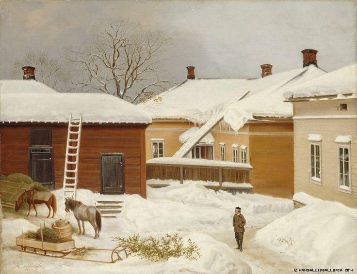 Magnus von Wright (1805-1868)  Liljenstrandin talo talvella / The Liljenstrand House in Winter 1860 - Finland - Helsinki - Finnish horses