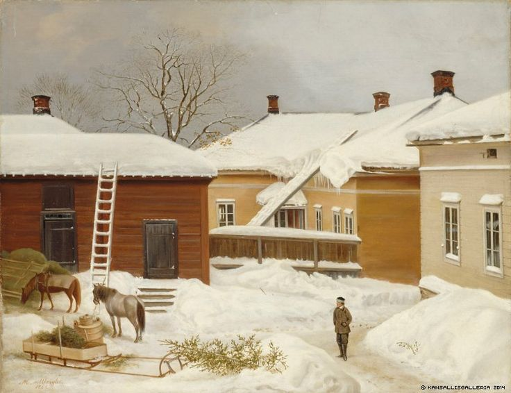 Magnus von Wright (1805-1868)  Liljenstrandin talo talvella / The Liljenstrand House in Winter 1860 - Finland - Helsinki - Finnish horses