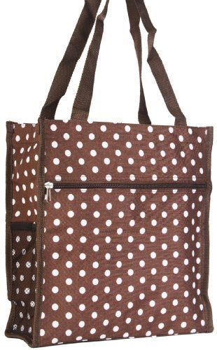 Brown White Polka Dot Travel Tote Bag with Coin Purse Private Label. $7.92