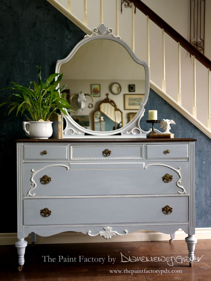 Depression-Era Dresser. Barbados Blue Classico with White Glaze.  Original hardware. {Available}