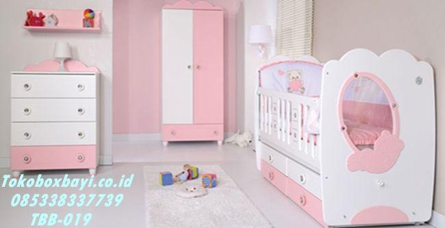 Set Kamar Bayi Perempuan Putih Pink Soft - Box Bayi Cewek berkarakter princes harga murah berkualitas mewah bergaransi by tokoboxbayi.co.ic