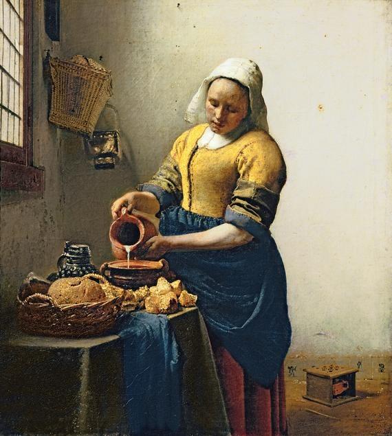 The Milkmaid, by Jan Vermeer: Johannes Vermeer, Artists, Jan Vermeer, Canvas, Dutch, Amsterdam, Painting, Golden Age, Milkmaid