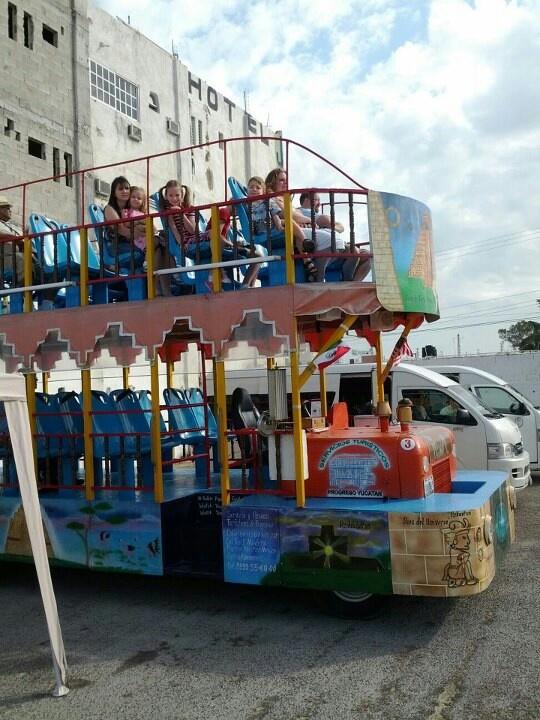 Double decker bus tour of Progreso (Yucatan) Mexico