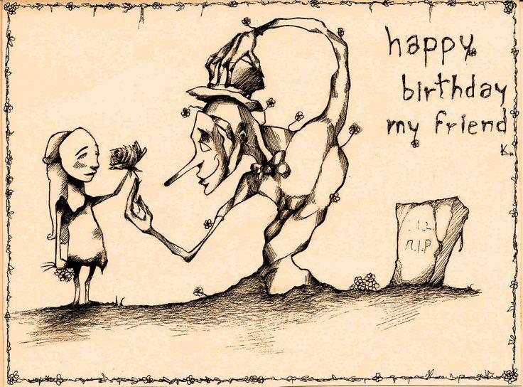 """Entintado de dibujo """"feliz cumpleaños amigo mio"""" , por Divebuin en cartoon   Dibujando.net  #historieta-y-viñeta #infantil #caricatura"""