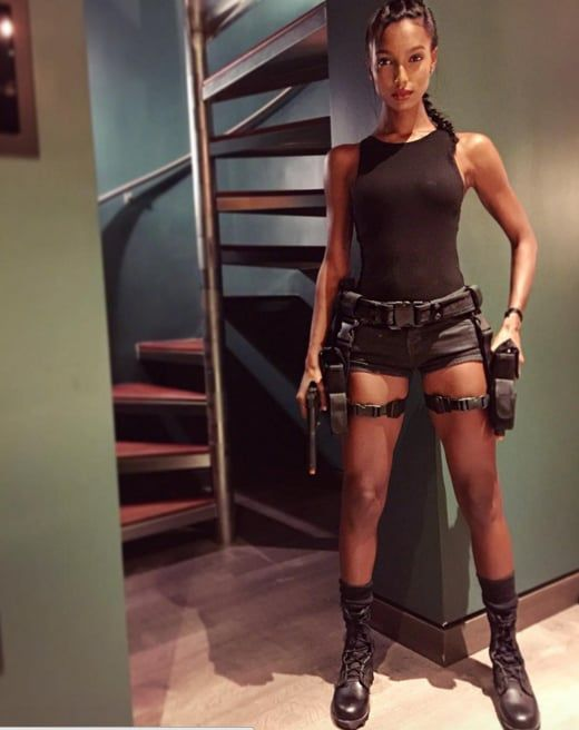 Jasmine Tookes Lara Croft Halloween Costume
