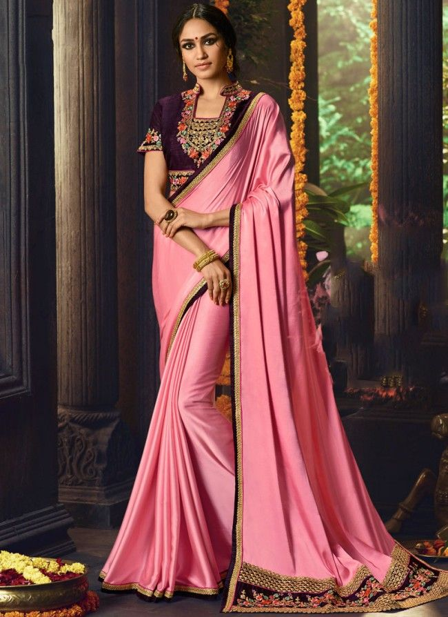 Embroidered Fancy Fabric Classic Designer Saree in Pink 4
