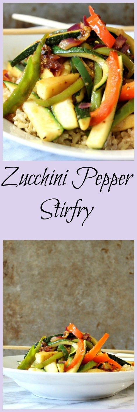 Zucchini Pepper Stir-Fry - A fresh, a little spicy stir-fry made with zucchini, and peppers with a soy and chili paste sauce served on brown rice.