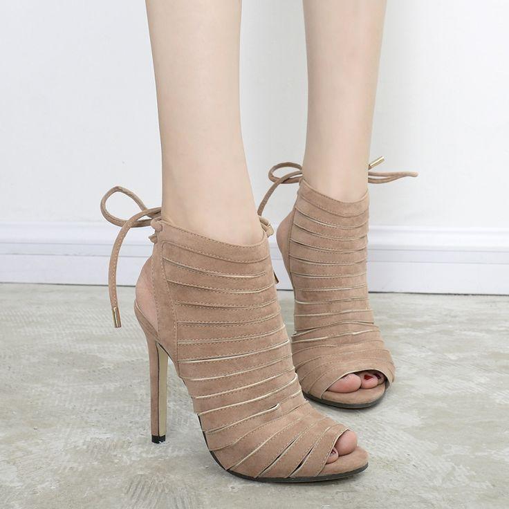 Women Pumps 2017  Fashion Gladiator Peep Toe High Heels Shoes Summer Boots Lace Up Sandalias Zapatos Feminios