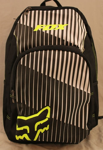 Fox Racing black backpack with white stripes and yellow Fox logos