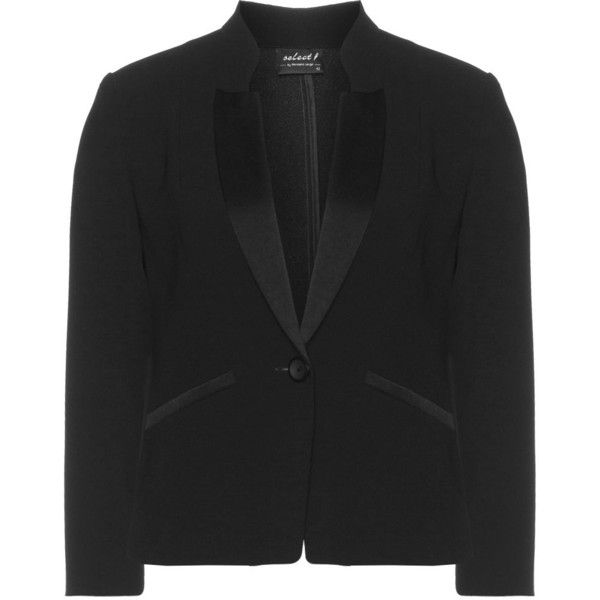 Hermann Lange Black Plus Size Satin-trimmed tuxedo jacket (3 440 ZAR) ❤ liked on Polyvore featuring outerwear, jackets, black, plus size, tux jacket, womens plus size jackets, tuxedo jacket, black jacket and plus size womens tuxedo jacket