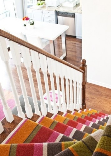 stripe stair carpet, painted railing.