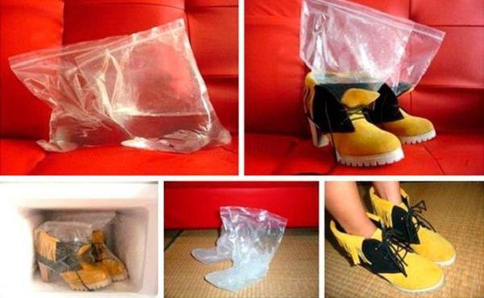 Также растянуть обувь можно с помощью мешков для воды. Наберите воду в пакеты с застежкой и положите их внутрь обуви. Затем поставьте ее в морозильную камеру. Вода в пакете будет расширяться и обувь вместе с ней.  Читать больше: http://nasovet.info/topics/obuvnye-hitrosti/?auth=mail_key